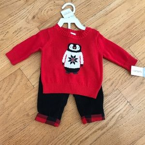 NWT Carter's red penguin sweater and pants set